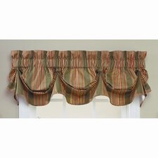 Sweetwater Stripe Cotton Rod Pocket Scalloped Curtain Valance