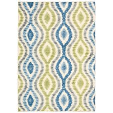 Aura of Flora Capri Blue/Green Outdoor Area Rug
