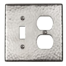 Hammered Copper Single Switch and Duplex Receptacle Combination Plate