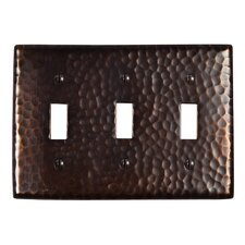 Hammered Copper Triple Switch Plate