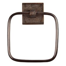 <strong>The Copper Factory</strong> Hammered Copper Towel Ring with Square Backplate