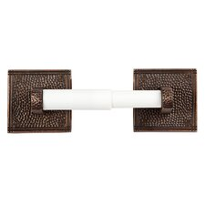 Hammered Copper Toiletpaper Holder with Square Backplates
