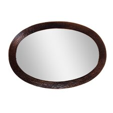 Hammered Copper Framed Oval Mirror