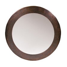 Hammered Copper Framed Round Mirror