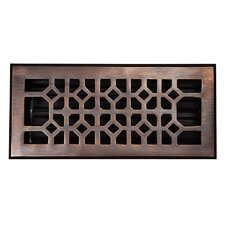 "Decorative 4"" x 10"" Floor Register with Damper"