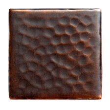 "Solid Hammered Copper 2"" x 2"" Decorative Accent Tile in Antique Copper"