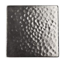 "Solid Hammered Copper 4"" x 4"" Decorative Accent Tile in Satin Nickel"