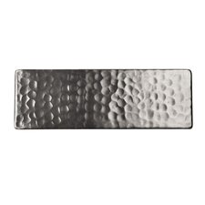 "Solid Hammered Copper 6"" x 2"" Decorative Accent Tile in Satin Nickel"