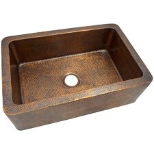 "32"" x  21"" Solid Hand Hammered Large Single Bowl Farmhouse Kitchen Sink"