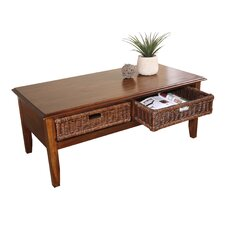 San Ramon Coffee Table with 2 Wicker Baskets