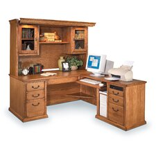 <strong>Martin Home Furnishings</strong> Huntington Oxford L-Shaped Desk Office Suite