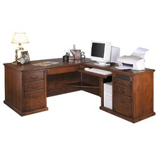 <strong>Martin Home Furnishings</strong> Huntington Oxford L-Shape Desk Office Suite