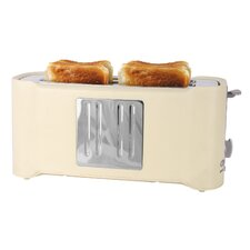 4 Slice Toaster in Cream and Chrome