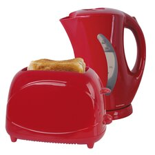 Kettle and Toaster Set - Red