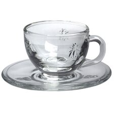 LaRochere Espresso Cup and Saucer in Napoleonic Bee Motif (Set of 6)