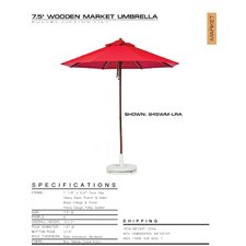 7.5' Striped Beach Umbrella