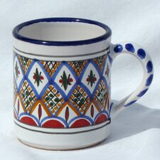 <strong>Le Souk Ceramique</strong> Tabarka Design 12 oz. Coffee Mug (Set of 4)