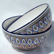 "<strong>Le Souk Ceramique</strong> Tabarka Design 8"" Serving Bowl (Set of 2)"