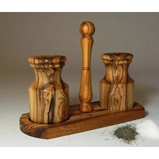 Olive Wood Salt and Pepper Shakers with Holder