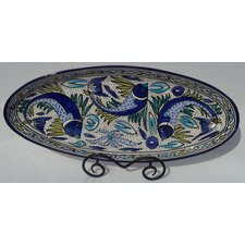 "Aqua Fish Design 21"" Oval Platter"