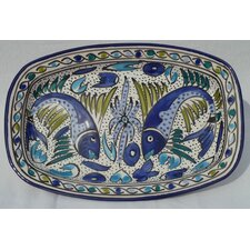 "Aqua Fish Design 13"" Rectangular Platter"