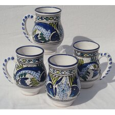 Aqua Fish Design 16 oz. Large Mug (Set of 4)