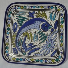 <strong>Le Souk Ceramique</strong> Aqua Fish Design Square Plates (Set of 4)