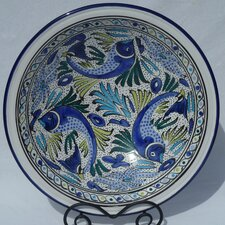 "<strong>Le Souk Ceramique</strong> Aqua Fish Design 16"" Serving Bowl"