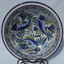 "<strong>Le Souk Ceramique</strong> Aqua Fish Design 14"" Serving Bowl"