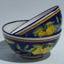 "<strong>Le Souk Ceramique</strong> Citronique Design 8"" Serving Bowl (Set of 2)"