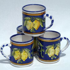 <strong>Le Souk Ceramique</strong> Citronique Design 12 oz. Coffee Mug (Set of 4)