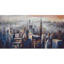City Dusk Painting Print on Canvas