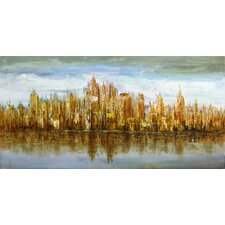 Gold Skyline Painting Print on Canvas