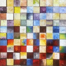 Coloured Checkers Painting Print on Canvas