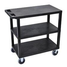 E Series Heavy Duty Utility Cart with 3 Flat Shelves