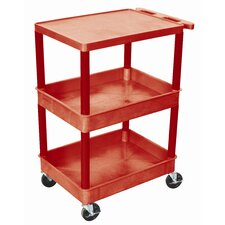 "<strong>Luxor</strong> 38"" Top Flat Shelf and Middle/Bottom Tub Shelf Utility Cart"