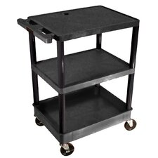 <strong>Luxor</strong> Top and Middle Flat Shelf and Bottom Tub Shelf Utility Cart