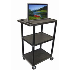 "<strong>Luxor</strong> 54"" High Open Shelf AV Cart in Black"