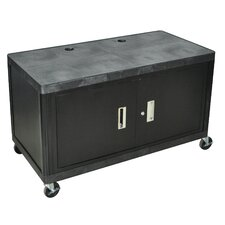 Two Shelf Extra Wide Mobile Workcenter with Cabinet
