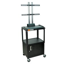 Adjustable Height Flat Panel Cart with Cabinet