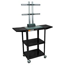 Adjustable Height Flat Panel Cart with Drop Leaf Shelves