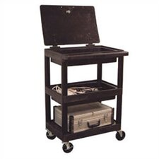 <strong>Luxor</strong> Three Shelf Utility Cart with Un-Hinged Plastic Lid