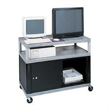 Three Shelf Extra Wide Mobile Workcenter with Cabinet