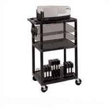 Open Shelf AV Cart with Locking Cabinet