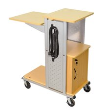 Mobile Presentation Station with Casters, Electric and Cabinet