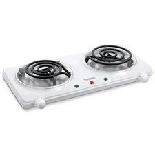 Portable Double Coil Cooking Range with Stay Cool Base