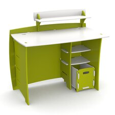 Frog Computer Desk with Accessory Shelves and File Cart