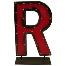 Moonshine Metal Letters R on a Stand Letter Block