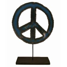 Moonshine Small Metal Art Peace Sign on a Stand