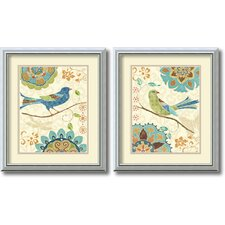 'Eastern Tale Birds' by Daphne Brissonnet 2 Piece Framed Painting Print Set